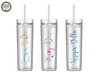 Kappa Delta Acrylic Water Bottle-Lily Inspired Patterned- 16oz Double Wall Acrylic Bottles