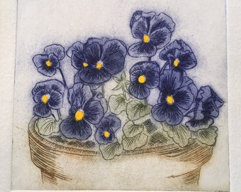 Pansies Print - Original Limited Edition Etching