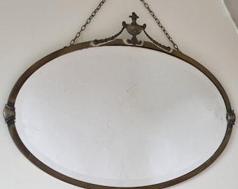 Vintage Ornate Brushed Metal Framed Wall Mirror Bevelled Glass 72cm x 50.5cm Lovely Condition