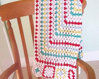 Baby Crochet Blanket - 100% Cotton - Granny Square Afgan