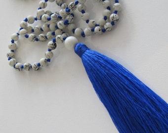 Cobalt tassel necklace