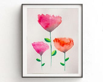 Red floral print art, 3 Flowers Print Art, Floral Painting, Red Flower Watercolor ,Flowers watercolor , home decor, Prints art, pink flowers