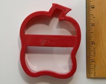 "FOX RUN APPLE Cookie Cutter   3 5/8"" x 2 7/8"" x 1"" Red Plastic"
