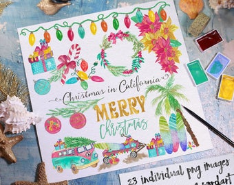 Watercolor Christmas Clipart. Christmas in California