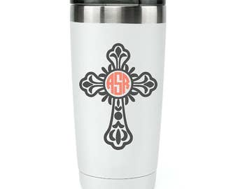 Easter Decals - Easter Gift - Custom Cross Decal - Personalized Decal  for Yeti Tumbler - Tumbler Monogram Decal - Christian Car Decals