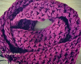 Plum Chunky Cowl, Crochet Chunky Cowl,Plum, Infinity Scarf, Chunky Cowl, Crochet  Scarf, Wool Infinity Scarf. Plum Infinity Scarf, Plum Cowl