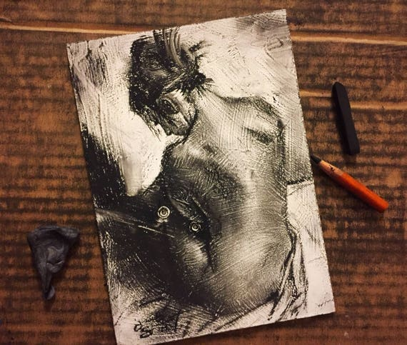 """Figure Drawing - """"Seated Figure Study"""" - 7""""x5"""", Art Original Charcoal Drawing, Charcoal on Gesso Painted on Board by Jacob Secrest"""