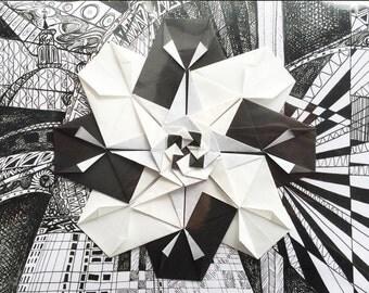 London Black and White handmade origami greeting card