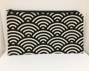 Zipper Pouch, Pencil Case, Teacher Gift, Teen gift, Geometric, Monochrome,New Mum Gift, Nappy Bag, Organiser, Cosmetic bag, Uni student gift