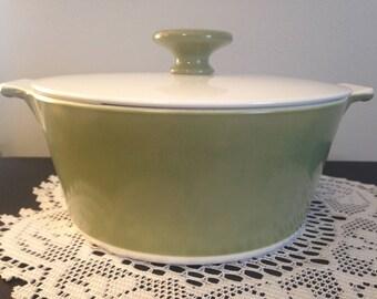 1960's Buffet Server/Corning Ware Round Avocado   1 3/4 Qt Casserole Dish with Lid