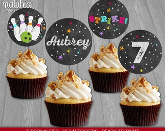 Bowling Cupcake Toppers - Bowling 16 Custom Cupcake Toppers Birthday Party - Girl Bowling Chalkboard Party Decoration - Stricke