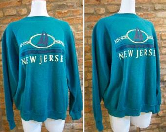 SALE Vintage Sweatshirt • 90s Sweatshirt • Vintage New Jersey Shirt • XL Crewneck Sweatshirt • New Jersey State Tourism Sweatshirt Sailboat