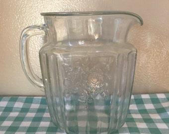"""vintage 6"""" floral glass pitcher"""