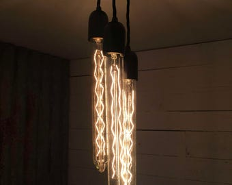 Brighton + Start Point : Handmade Pendant Light with 3 Tubular Fillament Bulbs