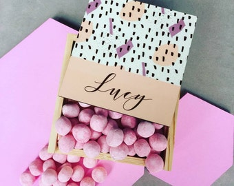 Personalised Wooden Box with Raspberry Ripple bon bons