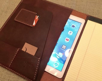 Personalized iPad Leather Padfolio, retina leather Portfolio, ipad air 2 case, iPad Pro case, ipad cover, legal pad portfolio