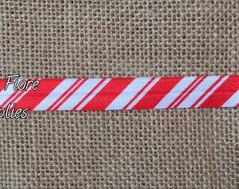 Christmas Candy Cane Stripe Fold Over Elastic- Christmas FOE- Wholesale- DIY Headband-