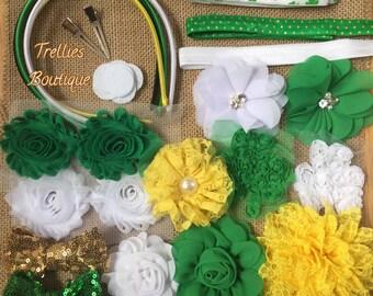 St. Patricks Day Headband Kit- Shamrock Headband Kit- 12 DIY Headbands- Baby Shower Headband Kit- Craft Show