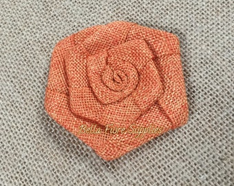 Orange Burlap Rolled Rosette Flowers, 3 inches, Burlap Flowers, Wedding Supply, Burlap Rose