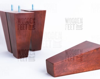NEW 4 x mahogany wooden furniture feet/ legs for sofa, chairs, stool etc...