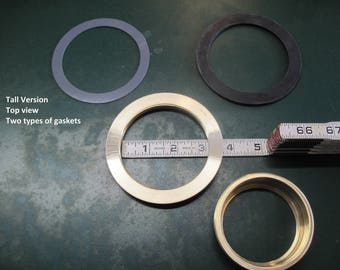 """3"""" Opening, Tall Lid Plug, Solid Brass Threaded Ring Inserts"""