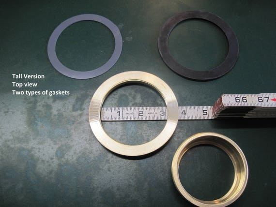 Tall lid kit, Large Solid Brass Threaded Ring Inserts, 3 Inch Opening, Tall Lid Plug