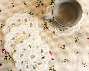 Crochet coaster set, Drink coasters, Bridal shower tea party decoration, Wedding coasters, Vintage coasters Kitchen decor, Housewarming gift