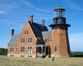 Southeast Light, New Shoreham, Block Island, Rhode Island, lighthouse photo, nautical, cottage decor, new england, archival print, signed