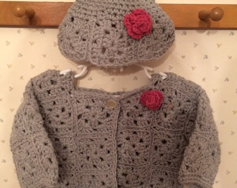 Baby girl sweater with hat in gray