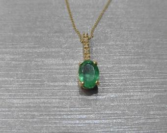 Emerald and Diamond Pendant and chain