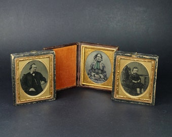 19th century 1/9 Plate Tintype Cased Photographs X 3 Mother Father and Son 1860