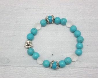 Bracelet beads Blue white bracelet Turquoise bracelet Yoga bracelet Buddha bracelet White blue bracelet Yoga jewelry Mala bracelet Quartz