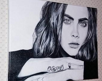 Cara Delevingne, hand painted portrait on canvas, acrylics.