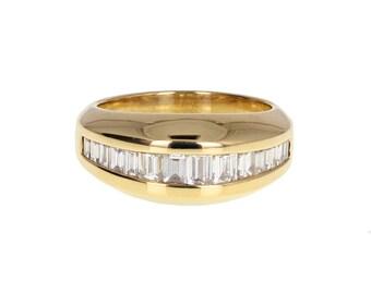 Channel Set Baguette Cut Diamond Half Eternity Band Gold Ring