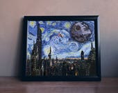 STAR WARS Inspired A Starry Wars Night Art Print - 8x10, 11x14 Painting, Van Gogh, SciFi Movie, Gift for Home, Wall Art, Impressionist Style