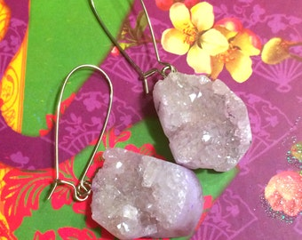 Handmade Druzy Quartz Geode Earrings on Kidney Earwires - Lavender or Clear Quartz Natural Stone Earrings, Nickel Free
