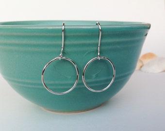 Sterling silver circle earrings, Dangle circle earrings, Silver earrings, Sterling silver jewelry, Handcrafted silver earrings, Handmade