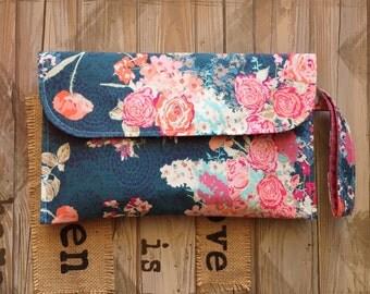 Navy Floral Diaper Clutch/Modern Baby/