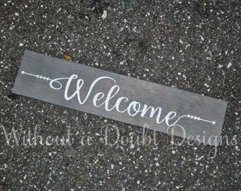 Rustic Welcome Sign Arrows Wall Decor