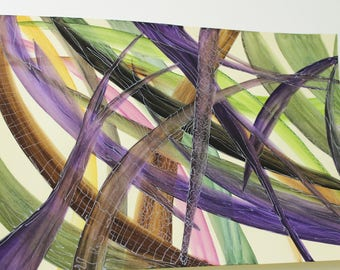 Palm Leaf Tropical Jungle Violet Foliage Original Mood Intense Quadri Fiori Astratto Large abstract painting No REPLY OOAK modern art