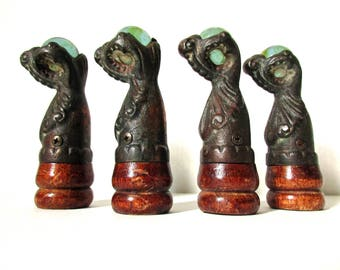 Antique Piano Stool Claw Feet, Architectural Salvage, Cast Iron Glass Ball & Claw Feet, Set of Four 4, Reclaimed Salvage
