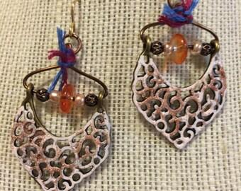 Gold painted  Filigree  Dangle Earrings