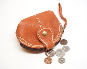 leather coin purse, coin wallet, coin bag hand stitch, leather key bag, minimalist leather pouch, mini coin bag, small bag