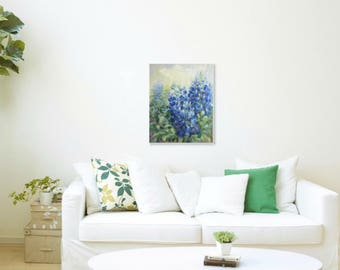 Bluebonnets painting original, blue floral painting, acrylic painting on canvas, floral wall art wild flowers blue painting original