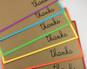 Set of 6 handmade hand stamped thank you notes cards simple