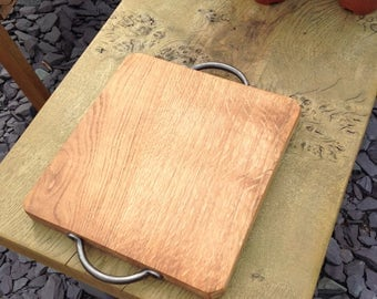 oak food presentation platter, cheese board with cast iron handles