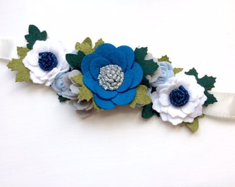 Felt flower crown with green leaves headband - dew drop, blue, white, silver - Christmas Holiday glitter