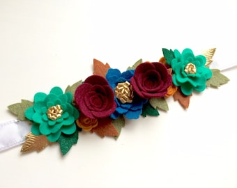 Felt flower crown with green leaves headband - ruby, blue, teal, gold with gold, camel and green leaves