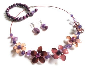 Nail polish jewelry set flower necklace bracelet earrings, nail polish flowers, statement jewelry stone bead bracelet sterling silver hooks