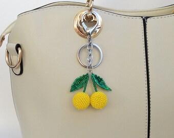 Lemon keychain Yellow keychain Beaded keychain Lemon Bag Charm Womens gift  Handbag charm Handmade keychain Fruit keychain summer outdoors